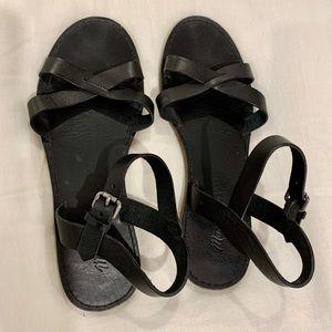 Madewell black boardwalk sandals